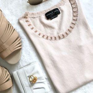 August Silk Knits Blush Embellished Sleeveless Top